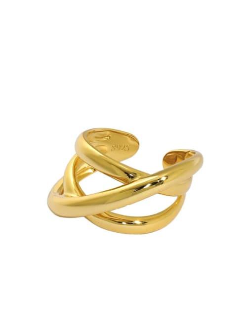 Gold [14 adjustable] 925 Sterling Silver Smooth Irregular Vintage Band Ring